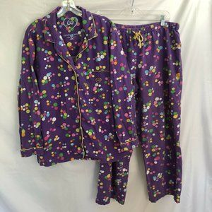 VICTORIA'S SECRET Flannel Purple Polka Dot Pajamas